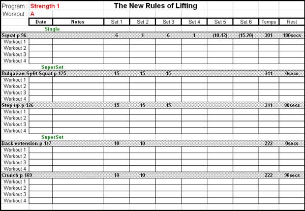 workout log sheets